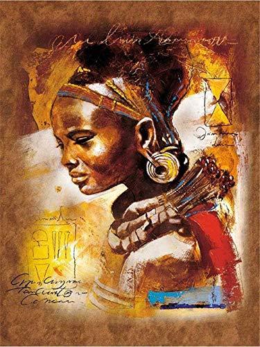 shuodade Kits de Pintura por números Arte Niña Africana Mujer India de pueblos primitivos Lienzo preimpreso DIY Pintura al óleo Regalo para Adultos Niños Decoración de la casa 40 * 50cm e