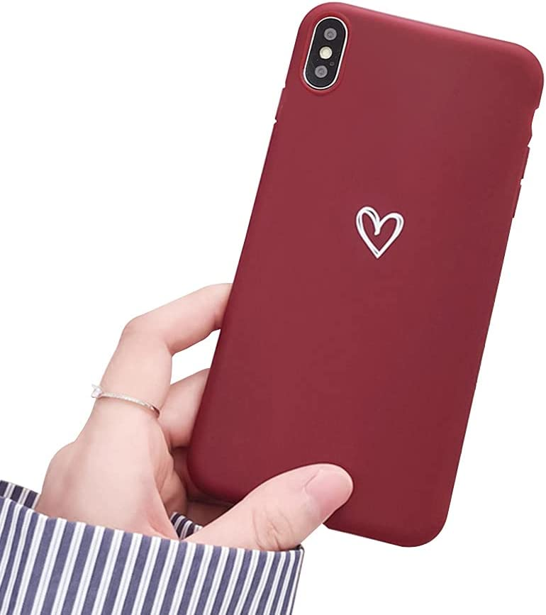 Ownest Compatible with iPhone X Case,iPhone Xs Case for Soft Liquid Silicone Heart Pattern Slim Protective Shockproof Case for Women Girls for iPhone X/XS Case-Red Wine