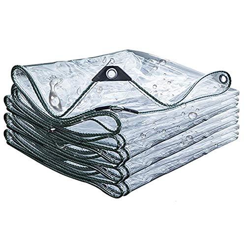 Cubierta para Plantas Lona Transparente,Película de Cortina Suave Plástico PVC 0,5mm con Ojales,Lona de Protección Impermeable para Barcos,Jardines,Invernaderos,Resistente Rotura (1.2x3m/4x10ft)