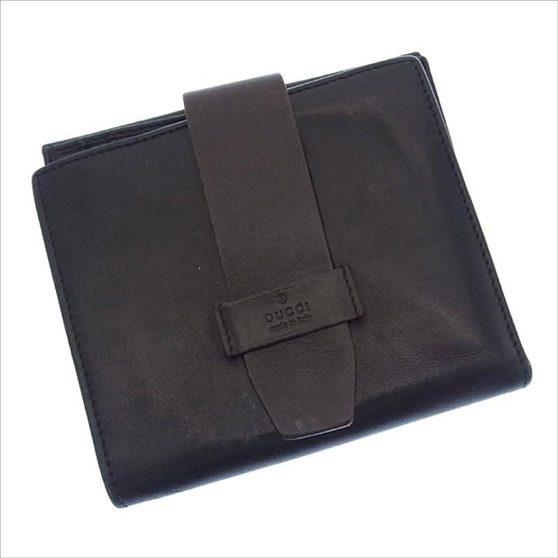 オフセット不器用定刻(グッチ) Gucci Wホック財布 二つ折り ブラック×ダークブラウン ロゴ レディース 中古 G302