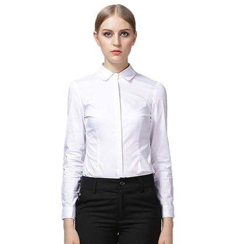 be8bc00f8e Soojun Womens Essential Long Sleeve Button Down Shirts Bodysuit
