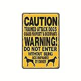 GVFDNTFRF Advertencia Precaución Perro Placa de Metal Señal de Advertencia Jardín público Mascotas T...