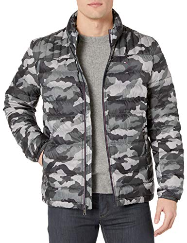 Tommy Hilfiger Men's Real Down Insulated Packable Puffer Jacket, Grey Camo, Small