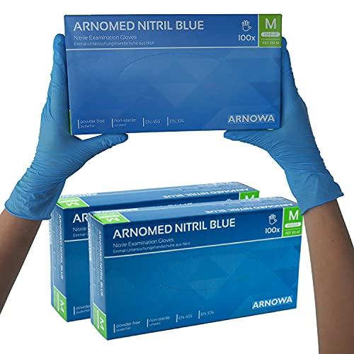 Lot de 2 gants nitrile sans poudre sans latex gants jetables bleus taille M 100 pièces boîte Gants jetables ARNOMED en gr. S M L XL