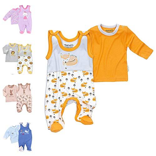 Baby Sweets 2er Baby-Set mit Strampler & Langarm-Shirt für Mädchen & Jungen/Baby-Erstausstattung in Weiß-Orange-Grau im Fuchs-Design als Babykleidung/Baby-Outfit aus Bambus/Größe 0-3 Monate (62)