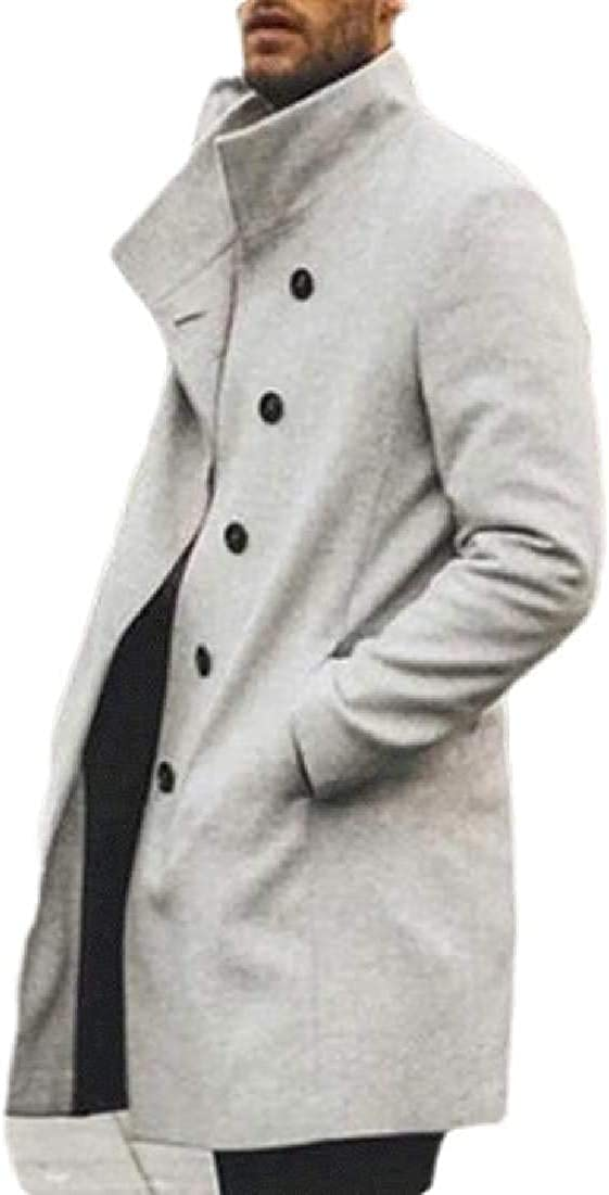 Mens Long Jacket Stand Collar Wool-Blend Single-Breasted Winter Top Coat