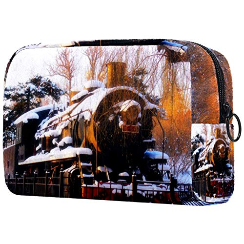Cosmetic Bag for Women, Snow Train Sundown Tree Winter, Makeup Bags Accessories Organizer Gifts