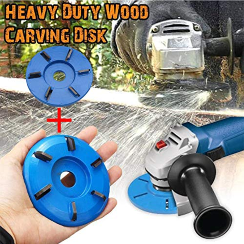 Shan-S 2PC Woodworking Turbo Plane for Aperture Angle Grinder Grinder Power Wood Carving Cutter Disc 16mm Six-Tooth Milling Cutter Tool Six arc Tooth arc-Shaped