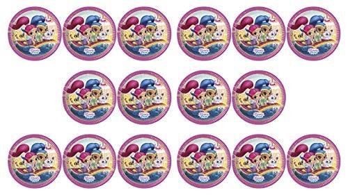 ALMACENESADAN 2588; Pack 16 Platos Shimmer and Shine; diametro 23 cm; Ideal para Fiestas y cumpleaños; Producto de cartón