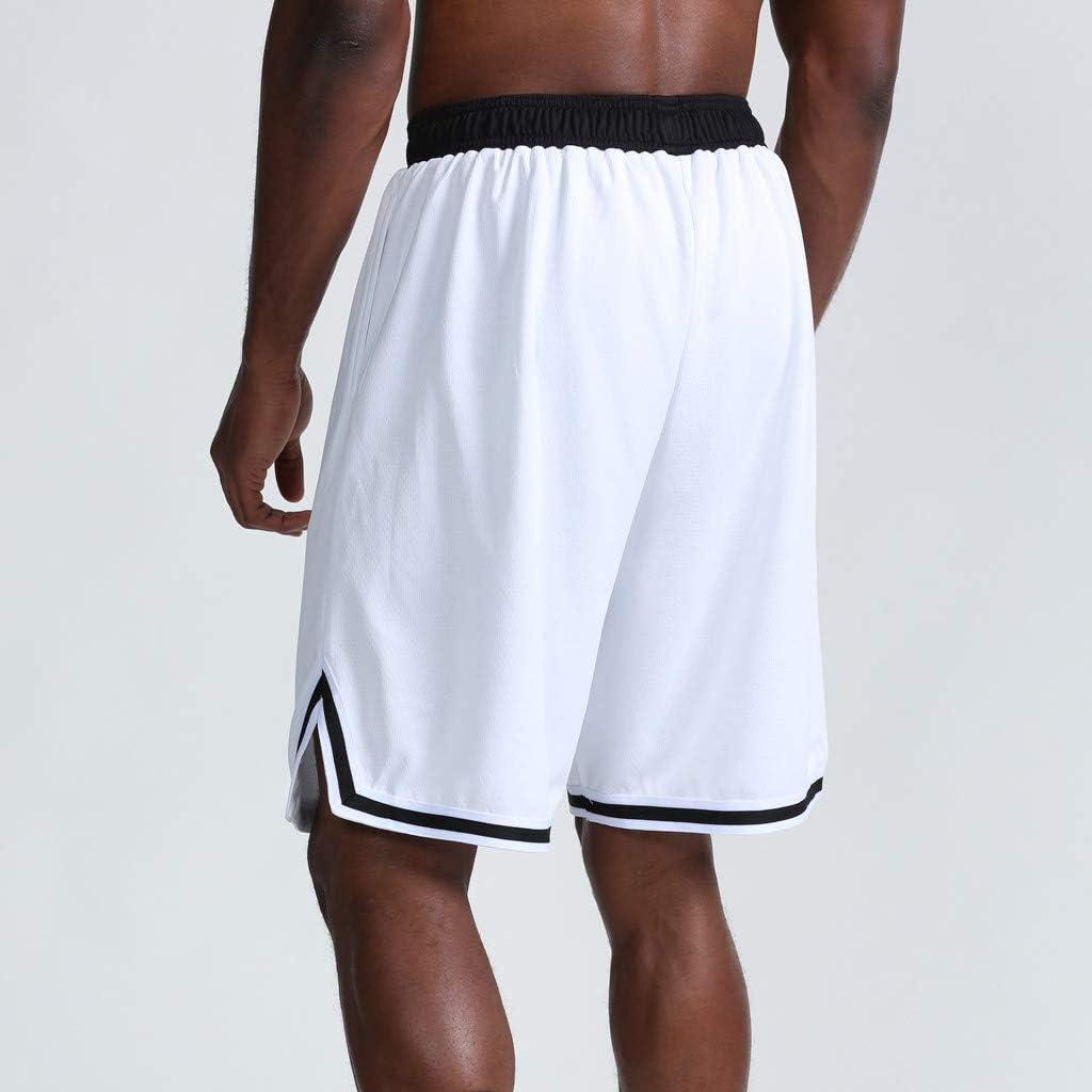 CLJ Pantalon Court de Basket-Ball pour Hommes, Mode décontractée d'été, Short de Sport en Vrac à séchage Rapide LJCi White