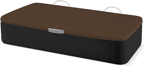 Naturconfort Canapé Abatible Ecopel Negro Premium Tapizado Apertura Lateral Tapa 3D Chocolate 80x180cm Envio y Montaje Gratis