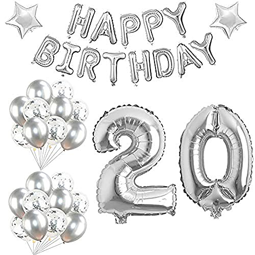 Globos Cumpleaños 20 Años Decoracion Cumpleaños Plata Globo de Confeti 20 Fiesta de Cumpleaños Globos Numeros 20 Gigantes 101cm Helio Globos Decoracion Cumpleaños Decoración