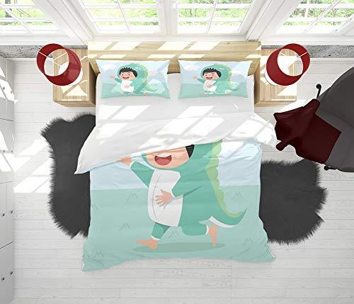 SAIAOS Funda nrdica,Chico Lindo con Disfraz de dinosauriosuave Dormitorio de Hotel Lujo Juego de Cama de 3 Piezas con 2 Fundas de Almohada