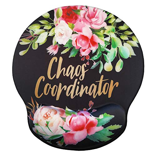 Eleville Ergonomic Mouse Pad Chaos Coordinator Funny Saying Memory Foam Wrist Rest Lycra Cloth Top and Non-Slip Base Cute Fashionable Design for Gaming Office Home Travel mp2