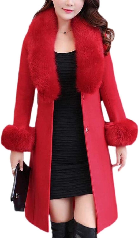 PujinggeCA Women Elegant Faux Fur Collar Thicken Woolen Trench Coat Outwear Jacket