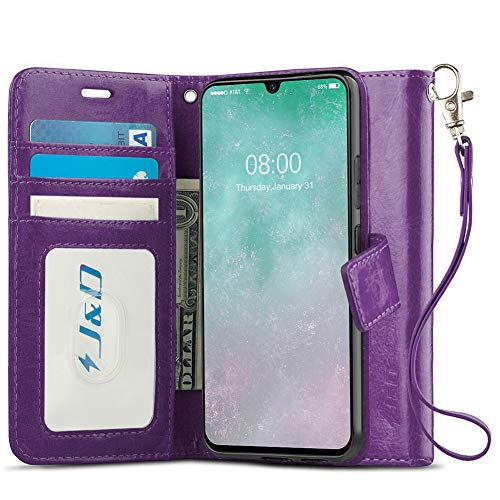 J&D Kompatibel für Samsung Galaxy A90 5G Leder Hülle, [Handytasche mit Standfuß] [Slim Fit] Robust Stoßfest PU Leder Flip Handyhülle Tasche Hülle für Galaxy A90 5G Hülle - Violett