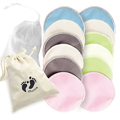 12 Pack Premium Organic Bamboo Cotton Nursing Breast Pads - Reusable & Washable Breastfeeding Pads - Soft, Highly Absorbent & Hypoallergenic with Laundry Bag| Perfect Gift for Baby Showers, Mothers.