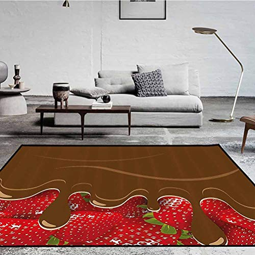 Kitchen Art Wall Decor Polyester Geometric Pattern Rug Fashion Color Living Room Carpets Strawberries Melted Chocolate Confectionery Fruit Sweet Delicacies Brown Red 1.7 x 4.9 ft