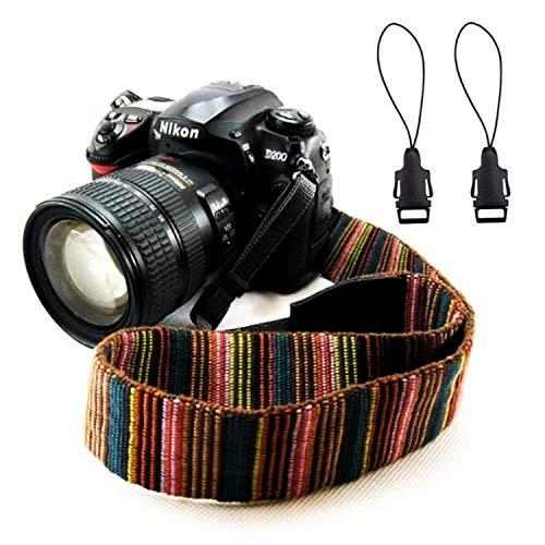 Wannabuy Cinghia per fotocamera con tracolla in tela con fibbie a sgancio rapido Stampa vintage Cinghie per fotocamere morbide colorate per donna Uomo Tutte le fotocamere reflex digitali (Multicolore)