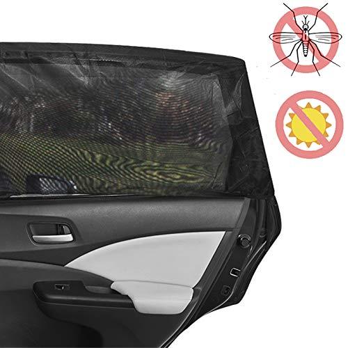 Feiteplus 2X Elastic Car Side Window Sock Sunshade Visor Mosquito Net for Baby Kid Breathable Sun Shade Mesh Backseat Block Curtains Black
