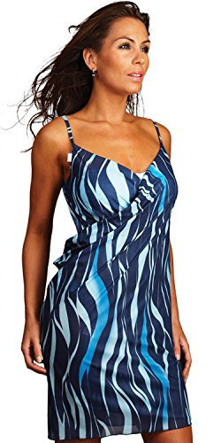 Azure saress Strand Kleid – Cover Up Sarong Kleid Top, Blue Tones, L