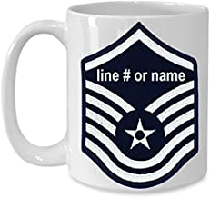 Military Promotion Gift Coffee Mug for US Air Force (USAF) Airmen - Personalized 15 oz Cup with Line Number or Name Printed on SNCO Rank (White, Master Sergeant (MSgt))
