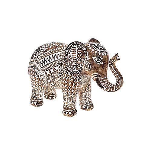 Shudehill - Elefante de madera tallada (tamaño grande), diseño azteca, color marrón