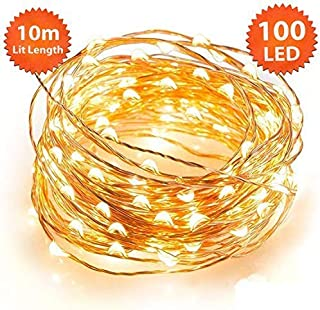 ANSIO Christmas Lights, Fairy Lights 100 LED Warm White Micro String Lights Indoor with Remote, 8 Modes Memory & Timer Function, Battery Powered - 10m/32ft Lit Length & 1m/3ft Lead Wire Copper Cable