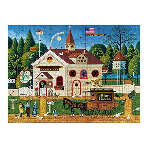Wooden Puzzle 500 Pieces Puzzles, Jigsaw Puzzles-Charles Wysocki The Bird House, Educational Intellectual Decompressing Fun Game for Kids Adults Toy 20.5'x15' inch