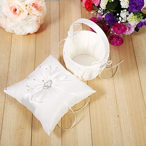 NITRIP Almohada de Anillo de Bodas, Canasta de Flores de Boda con Lazo de satén, Juego de(Off-White (Flower Basket + Ring Pillow))