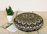 Popular Handicrafts Funda de almohada redonda con diseño de mandala degradado   100% algodón, para meditación, yoga, decoración de suelo, 32 pulgadas, color negro dorado