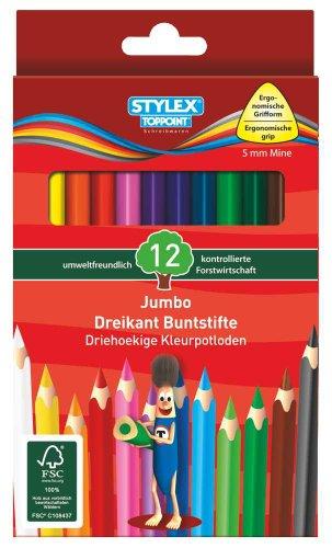 12er Jumbo Dreikantbuntstifte, lang, FSC