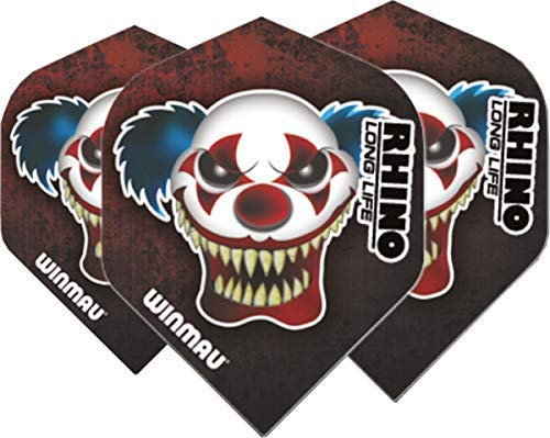 Winmau Darts Sport Rhino Extra Dick Standard Flights 10-Piece Pack - Rot Clown, One Size