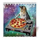 Generischer wasserdichter Duschvorhang mit Digitaldruck & Haken für schimmelresistenten Badstoff Klassische POP Space Cats & Pizza,120x180cm