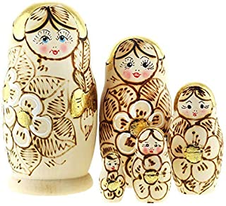 Azhna 5 pcs Nesting Doll with Golden Color Details Woodburned and Hand Painted Russian Doll 10.5 cm Wooden Stacking Doll