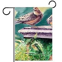 ガーデンフラグウェルカムバナーフラグヤードガーデン屋外装飾オールシーズンの垂直両面アートフラグ屋根の中の鳥