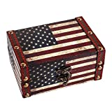 WaaHome Small Treasure Chest Decorative Wood Jewelry Keepsake Boxes for Kids Girls Boys Gifts Home Decorations,5.5' LX3.9 WX2.5 H (American Flag)