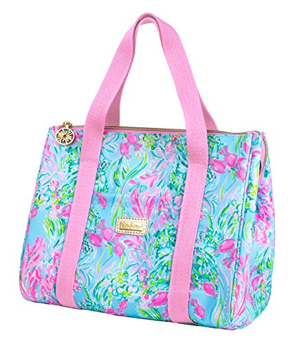 Lilly Pulitzer Thermal Insulated Lunch Cooler Large Capacity, Women's Lunch Bag with Storage Pocket and Shoulder Straps, Best Fishes