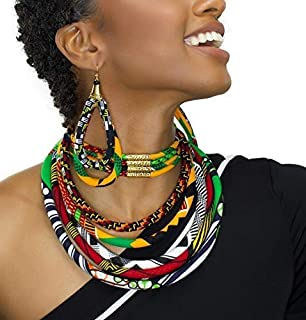 Queen Africa Print Bib Necklace | Africa Print Bib Necklace | African Necklace | Red, Yellow, Green Black Necklace | Ankara Print | Afro Necklace | Afrocentric | Cloth & Cord