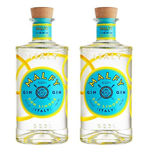 Malfy Gin Con Limone 2er Set, italienischer Gin mit Zitrone, Alkohol, Schnaps, Flasche, 41%, 2 x 700 ml