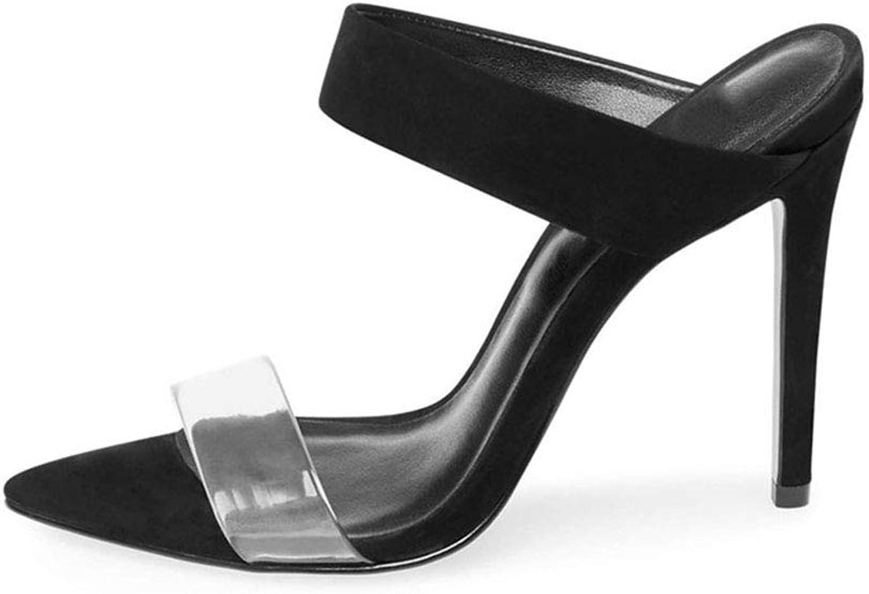 Damen Spitz Rom High Heel Sand Drag Wildleder Transparent PVC High Heel Flip Flops Sommer Strand Sandalen (Absatzhhe  12 cm)