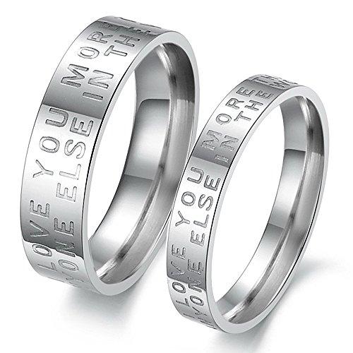 iSchmuck 1 par (2 unidades) Love You More Than Anyone Else in the World de acero inoxidable anillo plata Inglés amor carta boda compromiso amor amor amor San Valentín anillos regalos hombre mujer