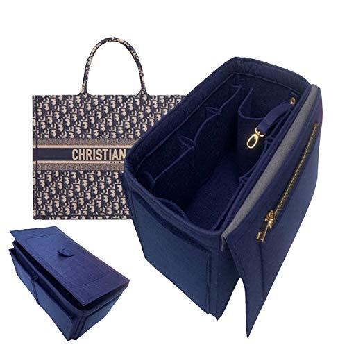Purse Organizer Insert,Premium Felt Bag organizer with zipper,Handbag Tote Shaper,For BookTote 20 Clours (BookTote-Large, Navyblue)