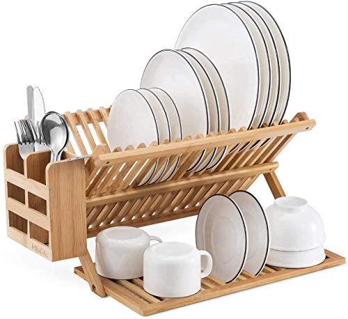 HBlife Bamboo Dish Drying Rack with Utensils Flatware Holder Set Large Folding Drying Holder for Kitchen, Collapsible Drainer, Cups and Utensils Holder