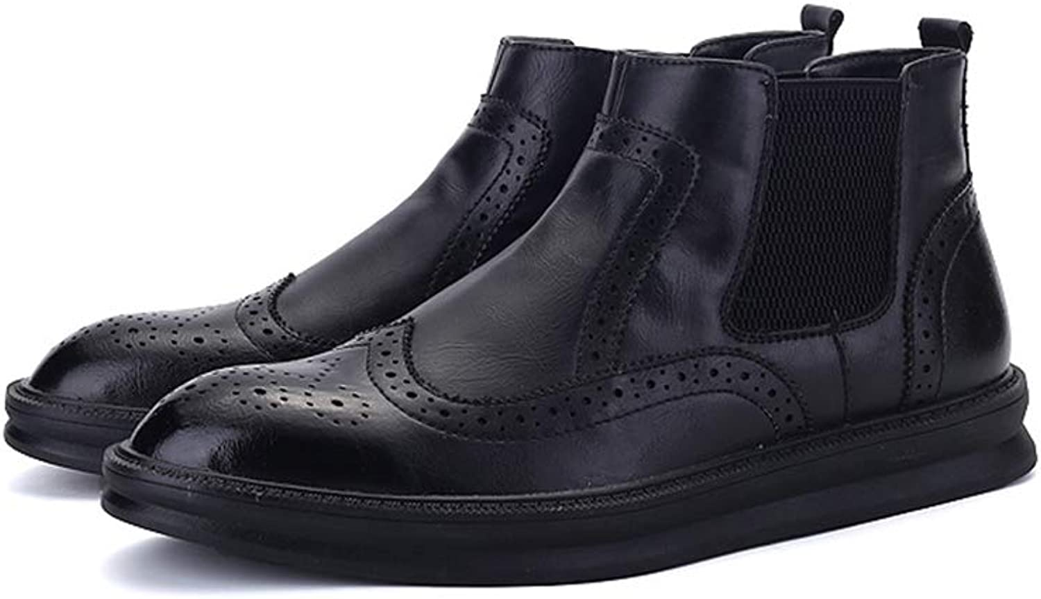 Xujw-shoes 2019 Mens Boots Men's Casual Classic Engraving Brogue Winter Faux Fleece Inside High Top Boot Fashion Ankle Boot