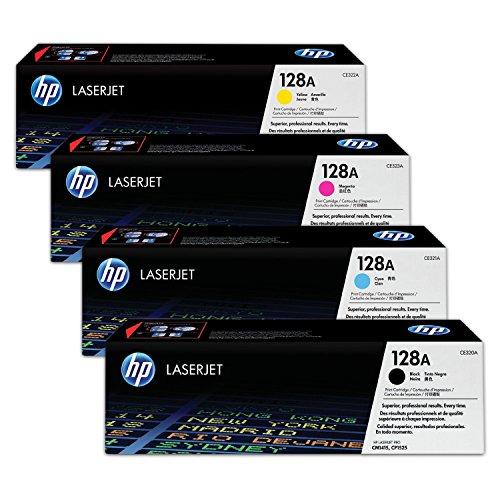 4X Original Toner HP Color LaserJet Pro CP1525n CP1525nw CM1415fn CM1415fnw - Nr.128 Pro 1415 FN original Tonerkit (128A) CE320A (schwarz) / CE321A (cyan) / CE322A (gelb) / CE323A (magenta) Multipack Set