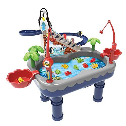 miraculocy Magnetisches Angelspiel Spielzeug, elektronische Angelspielzeug mit Pinguin Klettern Treppen-Electric Fishing Toys für Kleinkinder-Angelspielzeug