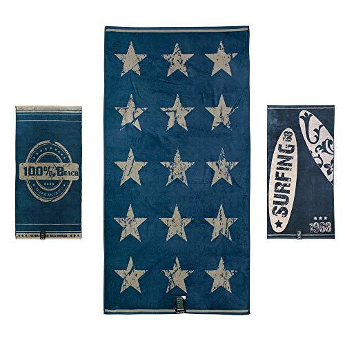 jilda-tex Strandtuch 90x180 cm Badetuch Strandlaken Handtuch 100% Baumwolle Velours Frottier Pflegeleicht Verschiedene Designs (Battered Stars)