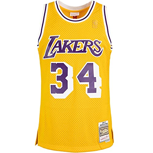 Mitchell & Ness Swingman Shaquille O´Neal L.A. Lakers 96/97 - Camiseta (talla M), color amarillo y morado