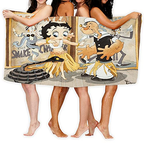 Large Puzzle Betty Boop - Juego de toallas de baño para mujer (microfibra suave, absorbente, turbante para el pelo, toalla de spa, sin tirantes, toalla de baño